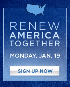Renewing America Today -- the Obama-Biden call to service on Martin Luther King Jr. Day